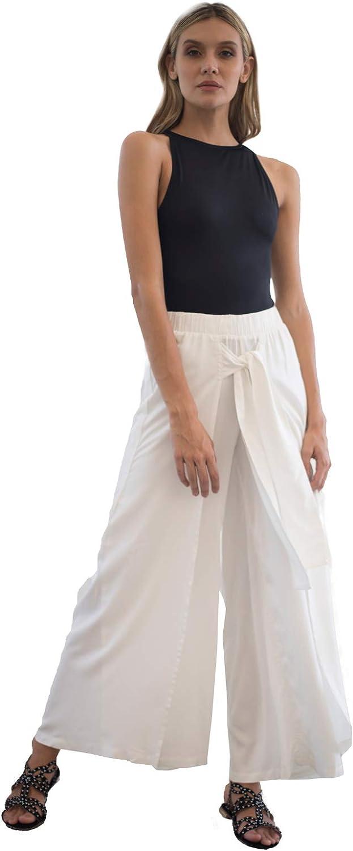 Mercedes Campuzano Women High Waist Casual Wide Leg Long Priscila Palazzo Pants Trousers