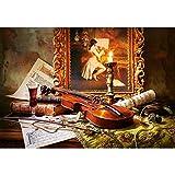 alles-meine.de GmbH Puzzle 1000 Teile -  Still Life with Violin and Painting  - Stillleben mit Violine und Gemälde / Geige Musik Kunst Malerei / Streicher Bogen Notenblatt Musi..