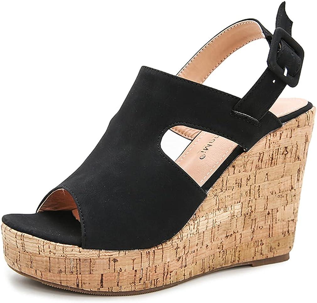 heelchic Women Platform Cork Wedge Sandals Dress Casual Summer Open Toe Sandals