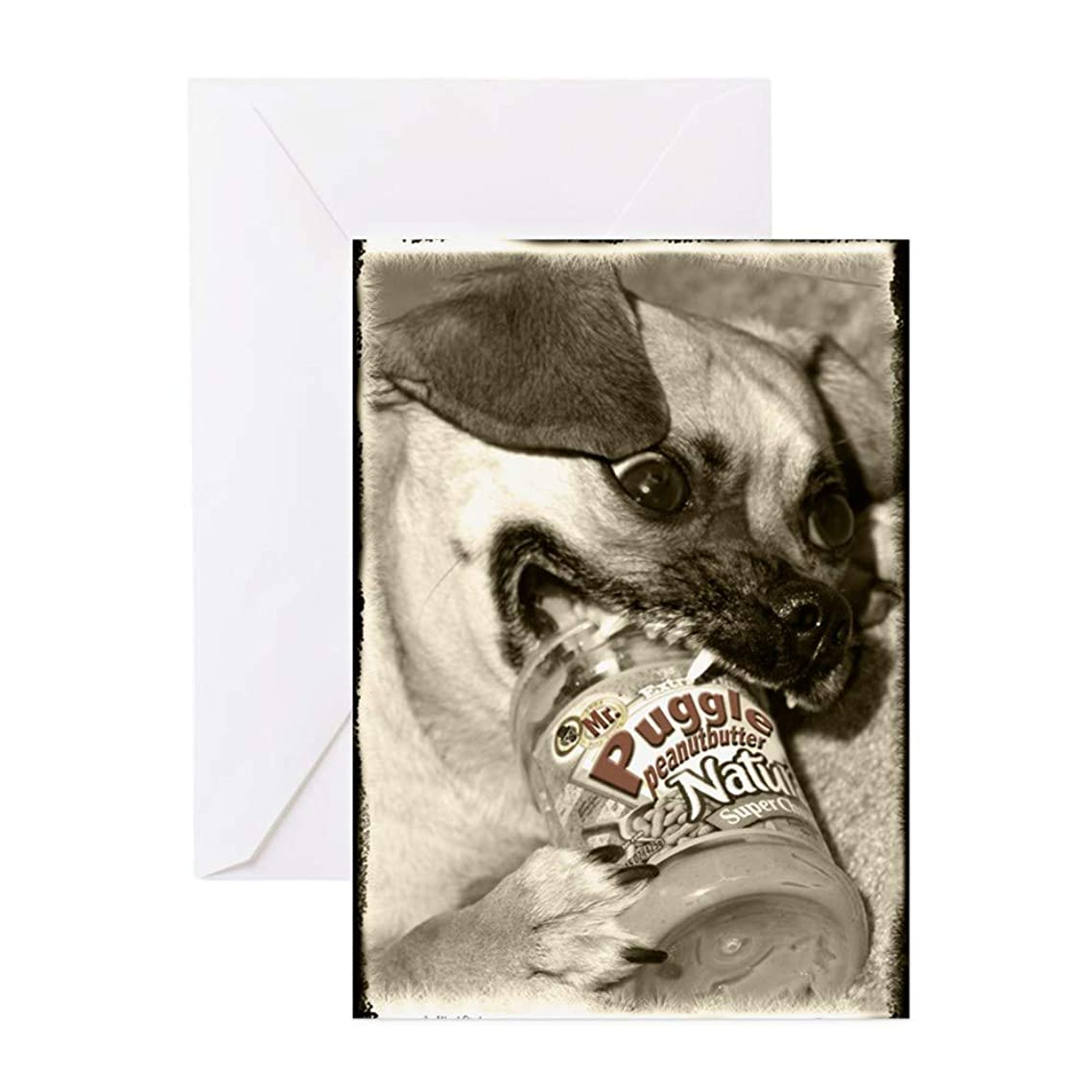 CafePress Puggle Peanut Butter Greeting Card, Note Card, Birthday Card, Blank Inside Matte