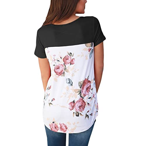 116beffd108360 HOTAPEI Women Casual Floral Print Back Short Sleeve Criss Cross V Neck  Blouse Tops