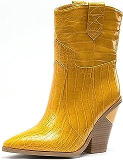 ZHENGRUI Mid Boots Vrouwen, Sexy Fashion Set Voeten Alien Hak Midden Kalf Hoge Hakken Vis Schaal Patroon Puntig Leer Verf ...
