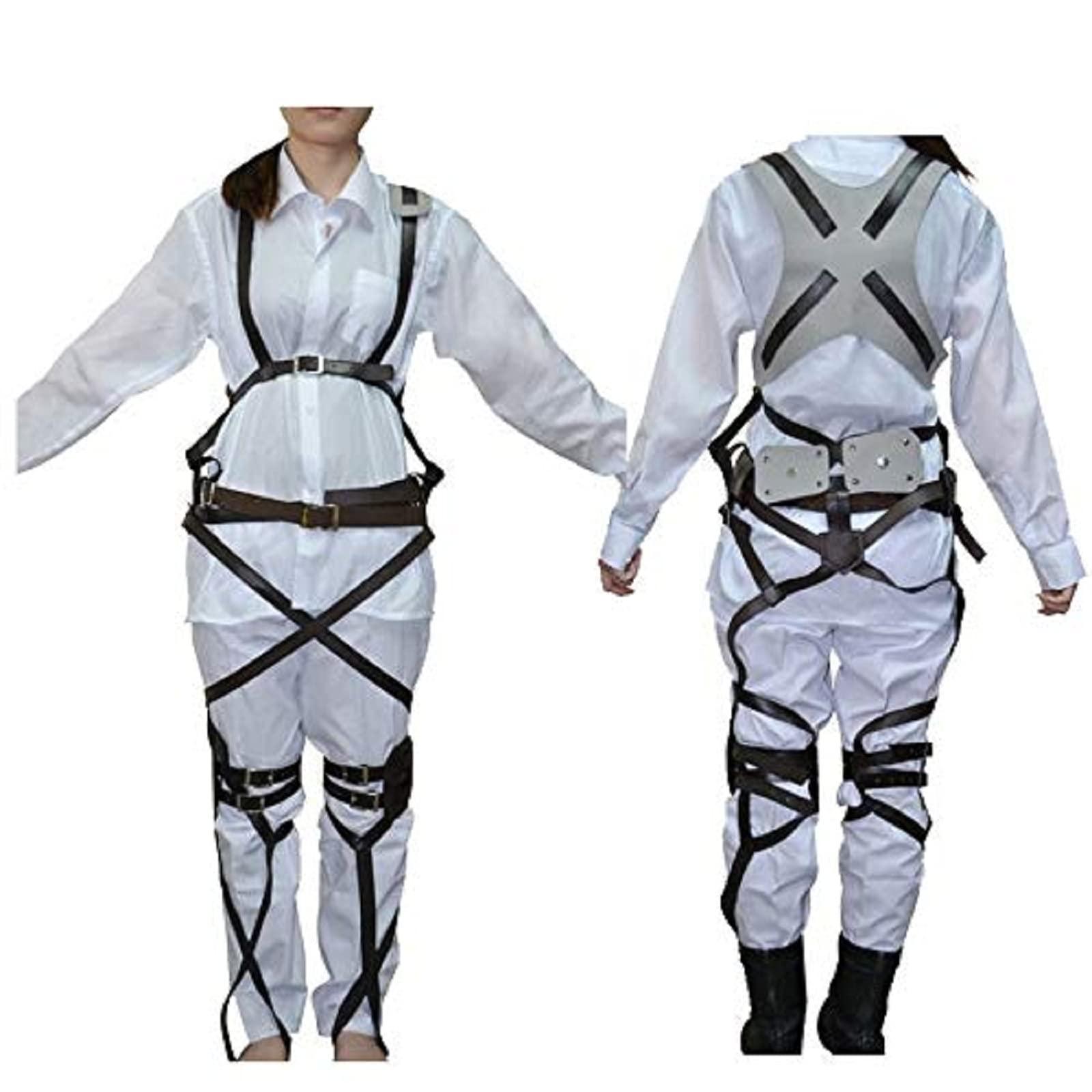 1 X Cosplay Attack on Titan Shingeki no Kyojin Recon Corps Belt Hookshot Costume, Browen, free size