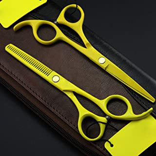 Hair Cutting Thinning Scissors Barber Salon Scissors Professional Hairdressing Salon Equipment Stainless Steel Tool Yellow...