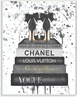 Stupell Industries Glam Fashion Book Stack Grey Bow Pump Heels Ink Wall Plaque Art, Proudly Made in USA