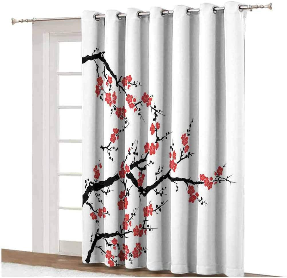 Cortinas japonesas opacas para puerta de patio, diseño de cerezo botánico asiático, líneas orgánicas frescas, paneles impresos, cortinas de 100 x 84 pulgadas, para puertas correderas