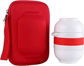 ONEISALL 1pot 2cups Chinese Travel Ceramic Tea Sets Portable Kung Fu Tea Pot with Bag,Porcelain Teapots For Outdoor Picnic,Mini Tea Cup With Tea Infuser (red) - coolthings.us