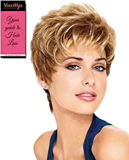 Aspire Avg Cap Wig  Color G11+ Mocha Mist - Gabor Wigs Women's Short Boy Cut Synthetic Loose Layers Curls Capless Comfort Fit Bundle with MaxWigs Hairloss Booklet