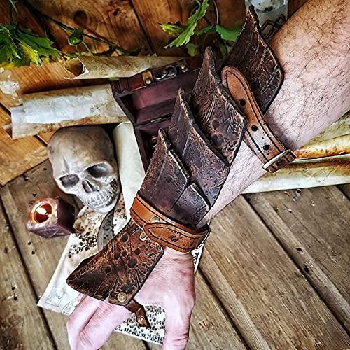 ZJJ Hombres Medieval Retro Protector De Brazo Vintage Antebrazo Puño De Camisa Muñequera Brazo Guantelete Pulsera Brazalete De Caza para Accesorios De Disfraz De Armadura De Cosplay,Marrón
