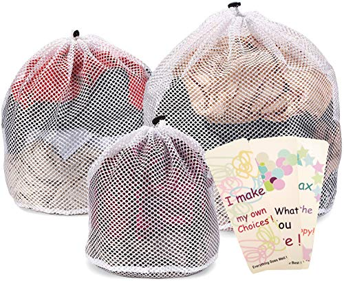 Ovee Lando Drawstring Lingerie Laundry Wash bags Set for Delicates Garments Blouse Sweaters Bras and Quilts Set of 3 Include 3 different Type of size