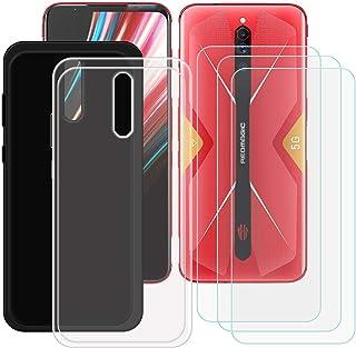 YZKJ [2 stycken skal för ZTE Nubia Red Magic 5G Cover svart + transparent mjuk silikon skyddshölje TPU skal skal + 3 x pan...