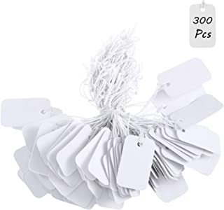 300 Pieces White Marking Tags Rectangle Blank Price Labels Mini Writable Display Tags with Hanging Elastic String for Clothes Jewelry, 25 x 15 mm