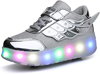 Ufatansy Uforme Kids Wheelies Lightweight Fashion Sneakers LED Light Up Shoes Single Wheel Double Wheels Roller Skate Shoes Size: 5.5 Big Kid