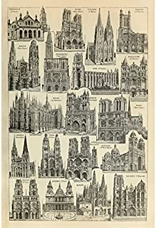 Retro Vintage Poster Print Art World Famous Landmark Buildings Architecture Collection Identification Reference Chart Illustration (20.87'' x 31.5'')