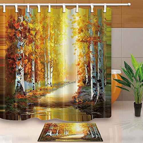 Ollt Badezimmer Gardinen, Kunst Malerei Herbst Ahorn Wald Landschaft Duschvorhang, Schimmel Proof Resistant Waschbare Duschvorhänge 180x180cm