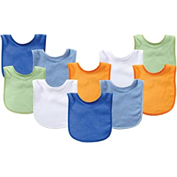 Luvable Friends Boy Feeder Bibs Boy Stripes and Solid 10-Pack