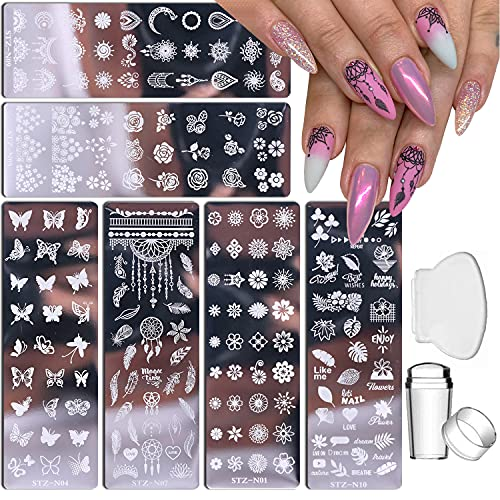Nail Stamp Plate Kit 6 Pcs Nail Stamping Plates + 1 Stamper + 1 Scraper Butterfly Flower Feather Flowers Maple Leaves Roses Nail Plate Template for Women Retro Fashion Art Decoration