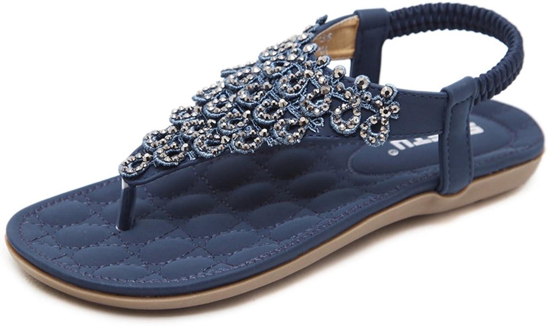 YUBUKE Fashion Womens Summer Flat Sandals Bohemia Beads Flip-Flop shoes Thong Sandals