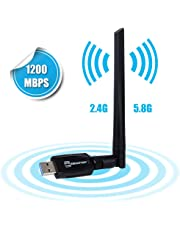 「2019第二世代」EBEAUTYDAY WiFi 無線LAN 子機 USB3.0式 1200Mbps 5DBi wifiアダプタ 2.4Ghz/5.8Ghz 360度回転アンテナ 802.11ac技術搭載 高速通信 技術認証済 Windows10/8/7/XP/Vista/Mac/Linuxに対応