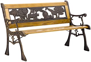AVGDeals Patio Garden Bench Park Porch Chair Cast Iron Hardwood Furniture Animals Curving Heavy Duty Metal Hard Simple and Amazing