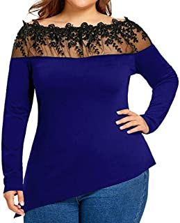 HGWXX7 Women Top Long Sleeve Plus Size Sexy Lace Boat Neck Casual T-Shirt Blouse