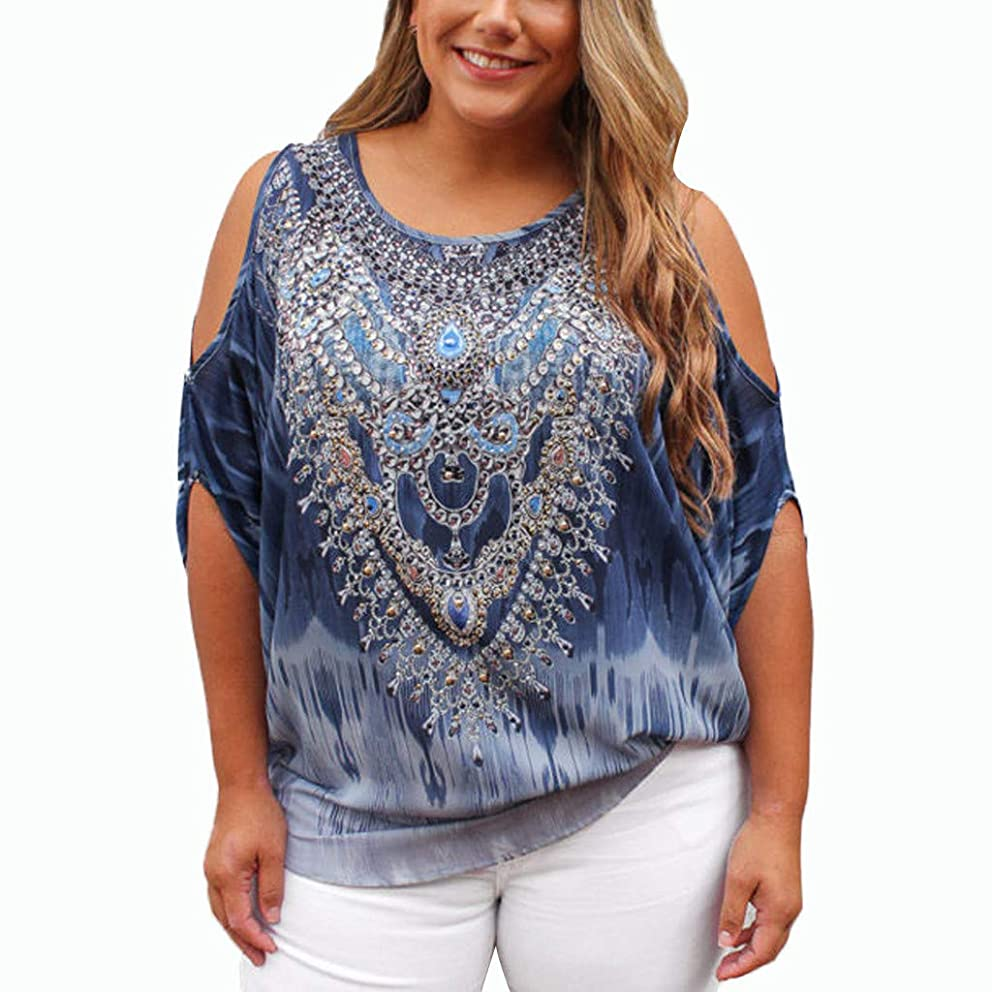 SADUORHAPPY Women Summer Off Shoulder Vintage Print Half Sleeve Short Sleeve T-Shirt Blouse Tops
