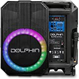 Outdoor Speaker with Microphone, Dolphin 5100W Party Speaker with Sound Activated Lights, Use as Portable PA System or...