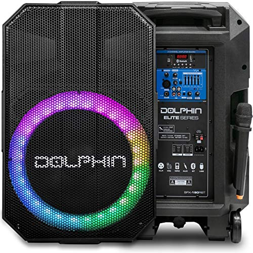 Outdoor Speaker with Microphone, Dolphin 5100W Party Speaker with Sound Activated Lights, Use as Portable PA System or Karaoke Machine