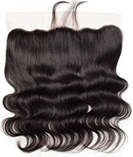 13x4 Full Lace Frontal Closure Body Wave Human Hair Ear To Ear Free Part 8A Unprocessed Brazilian Virgin Hair Natural Black Color no Bleached Knots (20 inch)