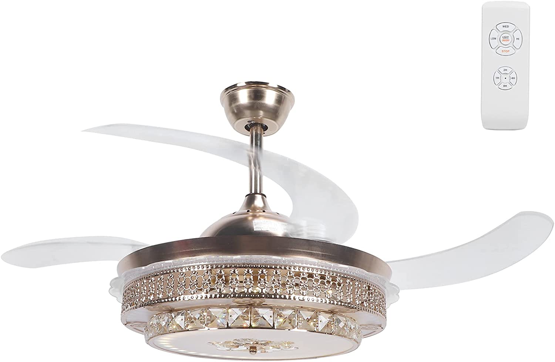 GOTOTOP Ventilador De Techo con Iluminación LED Luz,3 Temperaturas de Color y 3 Velocidades,Ultra Silencioso De La Sala Dormitorio De La Lámpara del Ventilador con Control, 42 Pulgadas(220V)