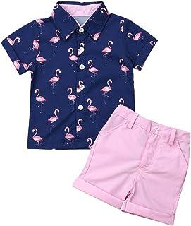 Baby Kids Boy Gentleman Suits, Flamingo Printed Button Down Shirt +Pink Shorts Set 2Pcs Outfits Set