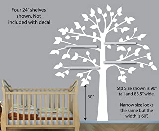 Childrens Wall Decals, Vinyl White Tree Wall Decal, Perfect for Shelf or Shelving