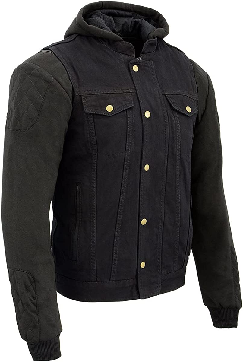 Milwaukee Leather MDM3020 Men's Black Denim 3 in 1 Club Style Vest with Removable Hoodie
