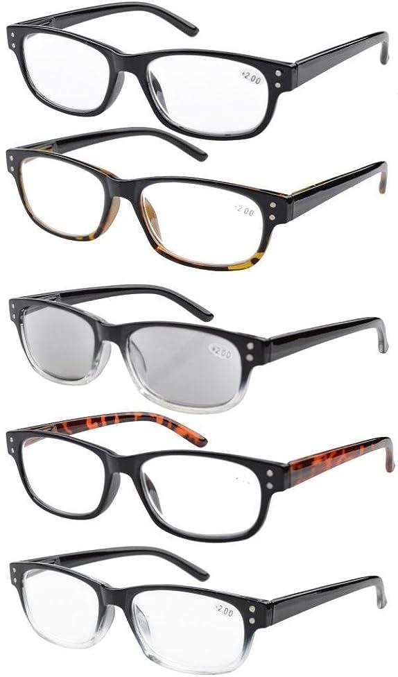 Eyekepper 5-Pack Spring Hinges Vintage Reading Glasses Includes Sunglasses Readers +4.00