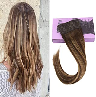 VeSunny 20inch Human Hair Hidden Wire Hair Extensions Secret Fish Line #4 Dark Brown to #27 Caramel Blonde Highlights Halo Balayage Hair Extensions Remy Hair 11inch 100G/Set