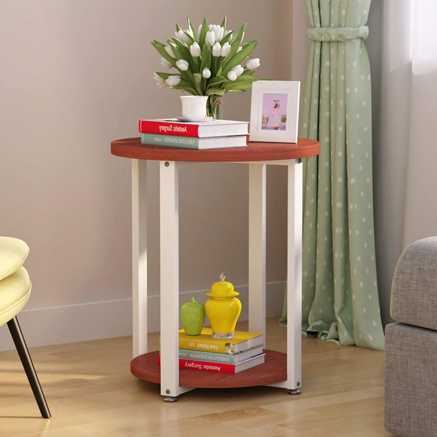 Round end Table,MDF Side Table Bedside Stand Coffee Table for Office Home Living Room-E 40x50cm(16x20inch)