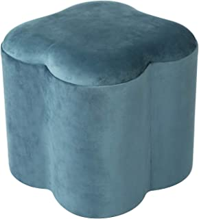 Homebeez Ottoman Footrest Stool Velvet Upholstered Bench FT40AM32HB2-1, Medium, Teal