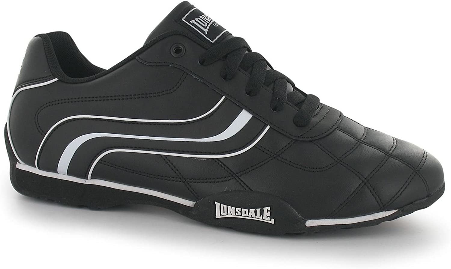 Lonsdale Camden Trainers Mens Black White Casual Sneakers shoes Footwear