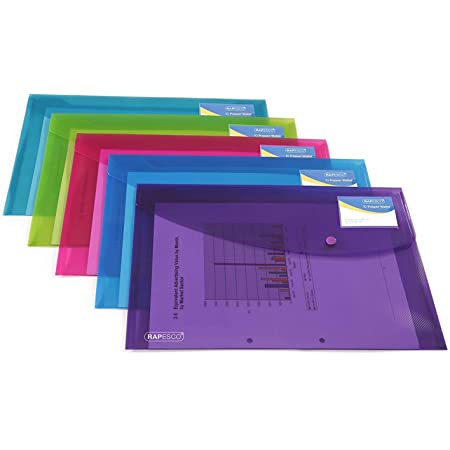 Rapesco Pochette Porte-documents Personnalisable Couleurs Vives Transparentes A4+ Lot de 5