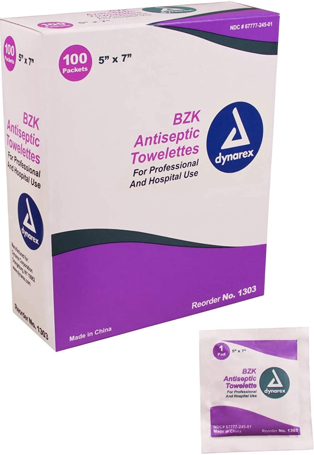 Dynarex Antiseptic Wipe Benzalkonium BZK First Aid Wipes 100/Box: Health & Personal Care