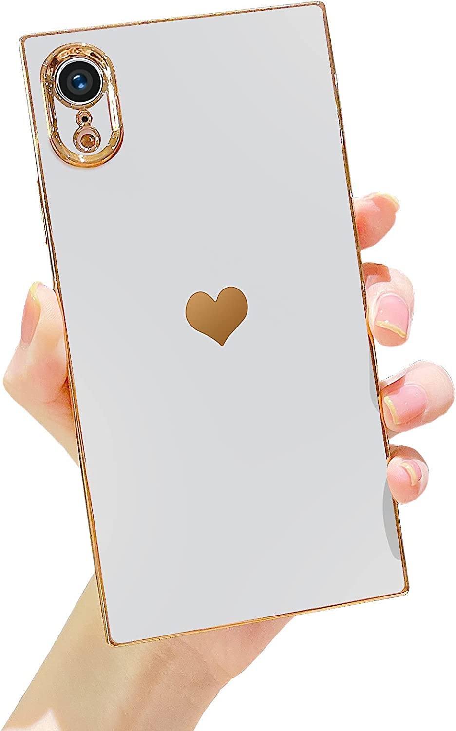 Robotsky for iPhone XR Case, Square Edge Cute Glitter Plating Loving Heart Pattern Design Cases for Women Soft TPU Silicone Shockproof Bumper Shell Cover for iPhone XR 6.1 inch 2018 (White)
