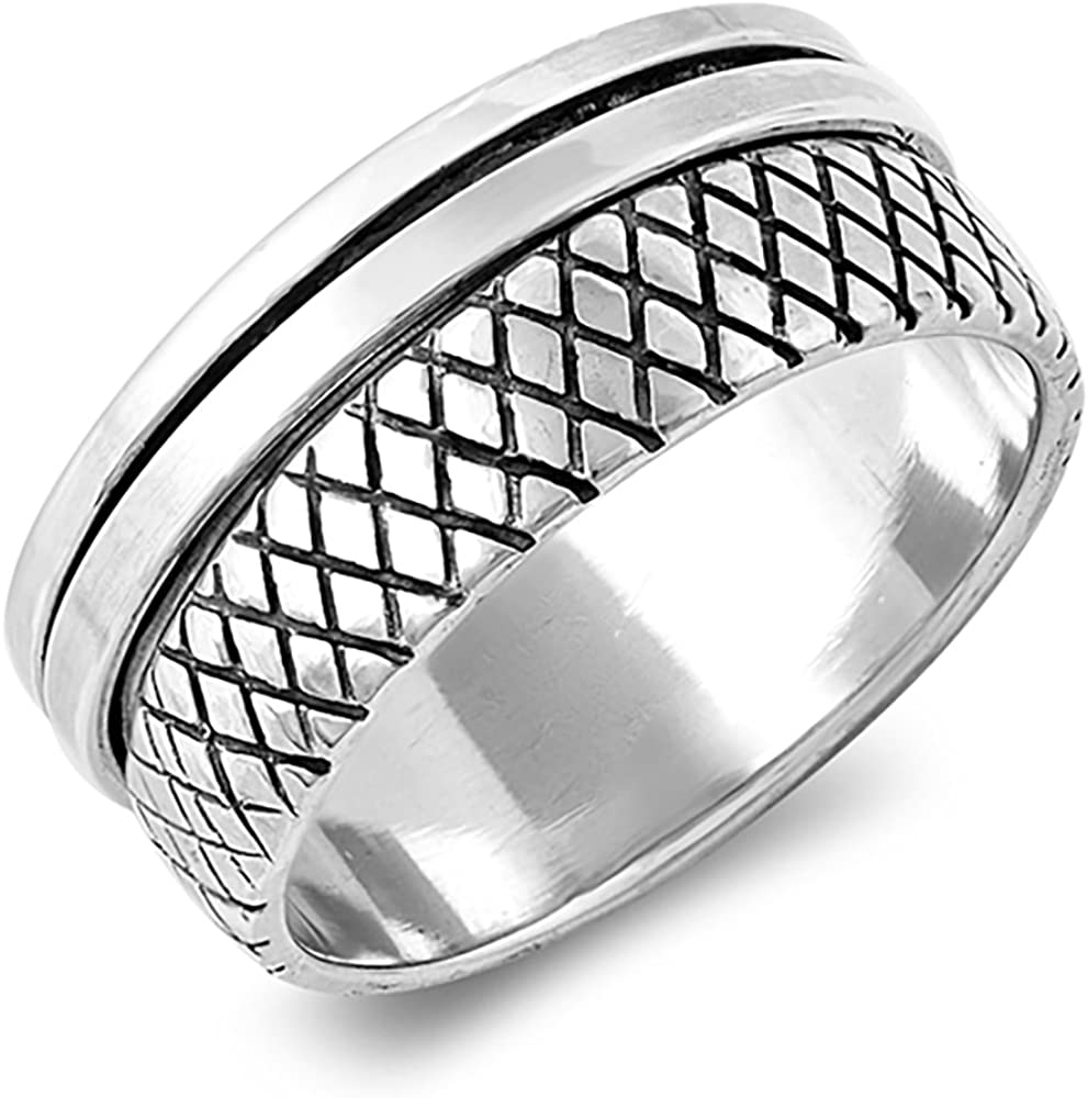 Sterling Silver Wedding Band Oxidized supreme Ring Spinner New popularity Size Finish