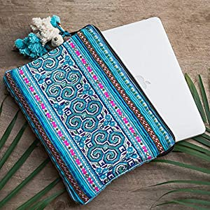 Changnoi Blue Vintage Hmong Embroidered Laptop Sleeve Case 13 Inch, One of a Kind Laptop Sleeve