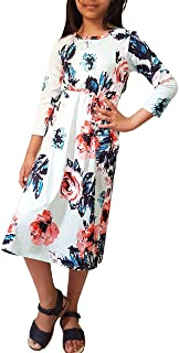 Girls Dress Casual Floral Long sleeves Maxi Style Girls Shirt with Pockets, Kids Beach Wear,