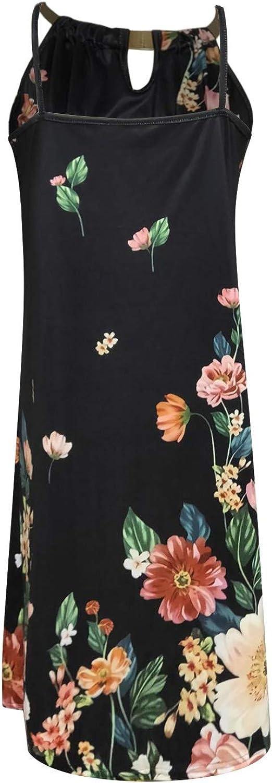 Oiumov Summer Dresses for Women, Womens Sleeveless Print Bodycon Cami Mini Dress Casual Beach Sundress Loose Boho Dress