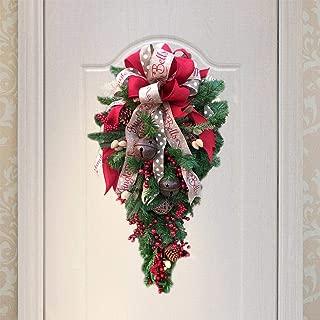 Hsamila Christmas Swag, Bell Fruit Ribbon Bowknot Door Swag Teardrop Swag Door Ornament Wall Decoration 35.5 Inch