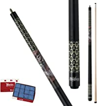 Action Mayhem MAY28 Dead Man's Hand & Skulls Pool Cue Stick with 12 pieces of Master Billiard Chalk