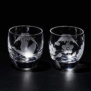 江戸切子 富士山に鶴・桜 冷酒グラス ペア TB0050-32/0050-33 化粧箱入り 太武朗工房直販 日本製