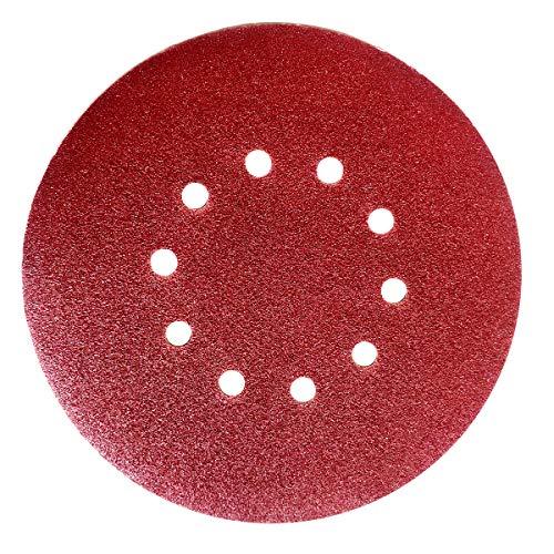 30x Schleifpapier 225 mm 10 Loch Körn. 40 60 80 100 120 180(je 5 Stk) Schleifblatt mit Klettbelag für Trockenbauschleifer Winkelschleifer
