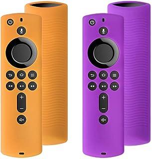 [2パック] シリコンカバーケース TVファイアスティック4K / TV(第3世代)用 第2世代リモコン対応 (パープル&オレンジ)